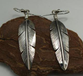 Navajo Silver Feather Earrings