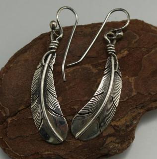 Navajo Silver Feather Earrings