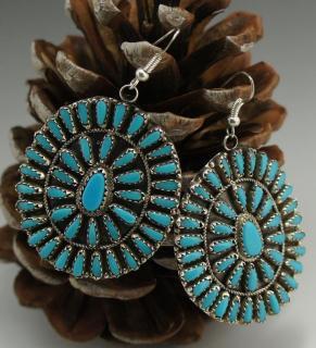Navajo Turquoise Cluster Earrings