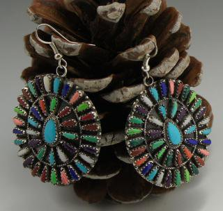 Navajo Multi Color Cluster Earrings