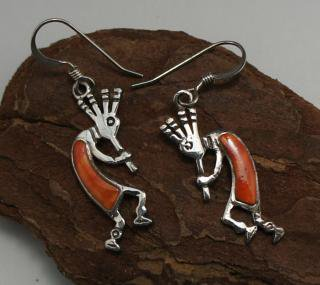 Navajo Inlay Kokopelli Earrings