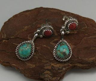 Navajo Coral and Turquoise Earrings