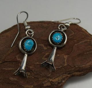 Navajo Turquoise Squash Blossom Earring