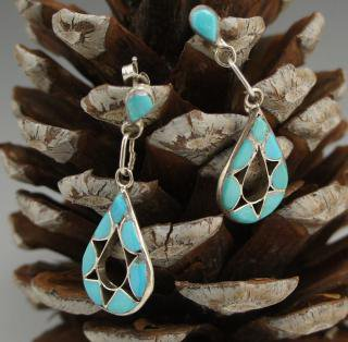 Zuni Turquoise Inlay Earrings