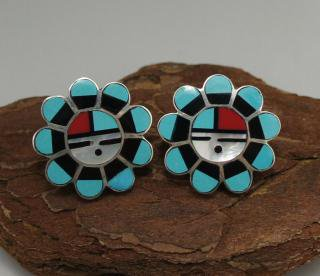 Zuni Sunface Inlay Earrings