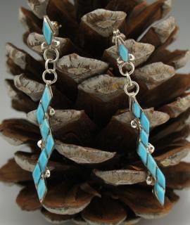 Zuni Turquoise Inlay Earrings