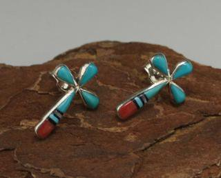 Zuni Inlay Cross Earrings