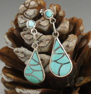 Zuni Turquoise Fish Scale Inlay Earrings