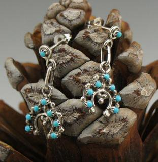 Zuni Turquoise Petit Point Naja Earrings