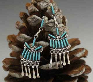 Zuni Turquoise Needlepoint Silver Fringe Earrings