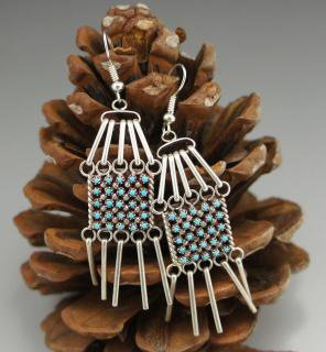 Zuni Turquoise Petit Point Silver Fringe Earrings