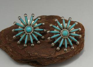 Zuni Turquoise Needlepoint Earrings
