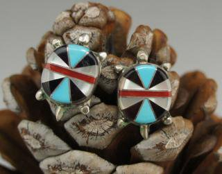 Zuni Inlay Turtle Earrings