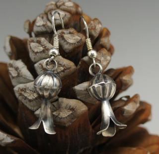 Navajo Silver Squash Blossom Earrings