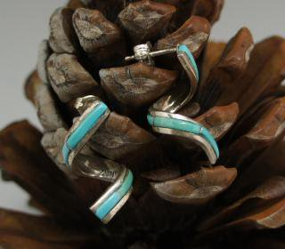 Zuni Turquoise Inlay Spiral Earrings