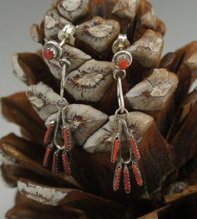 Zuni Coral Needlepoint Earrings
