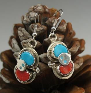Zuni Coral and Turquoise Earrings