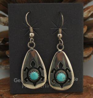 Hopi Turquoise Overlay Earrings