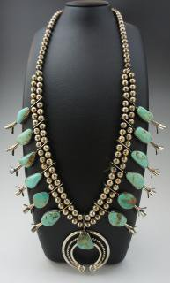 Navajo Royston Turquoise Squash Bloosom Naja Necklace , Earring Set