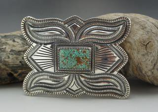 Navajo Harrison Jim Kingman Turquoise Belt Buckle