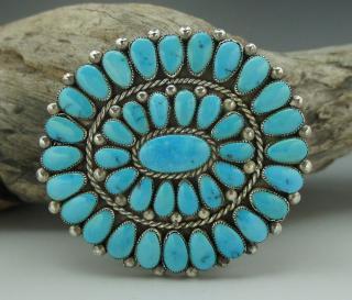Zuni Alice Quam Sleeping Beauty Turquoise Cluster Belt Buckle