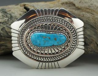 Navajo Leonard Nez Natural Morenci Turquoise Belt Buckle