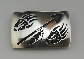 Hopi Weaver Selina Overlay Belt Buckle