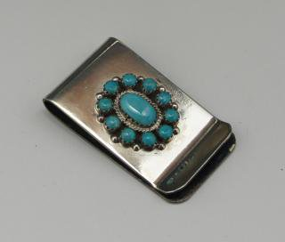 Navajo Turquoise Cluster Money Clip