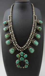 Navajo Blue Gem Turquoise Naja Necklace