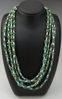 Navajo Turquoise Nugget and White Mother of Parl Four-Strand Necklace