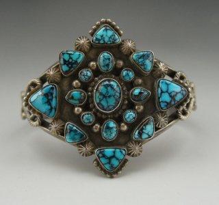 Navajo Dean Sandoval Jr Kingman Turquoise Cluster Bracelet