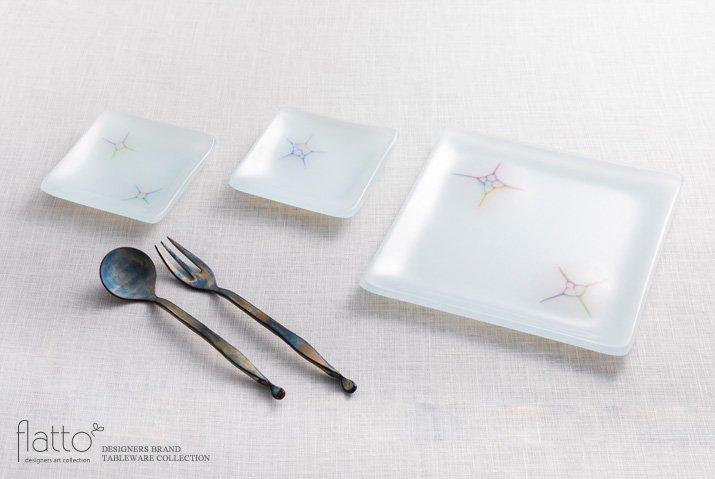吉村桂子|イロサシ角皿(15cm角)-04