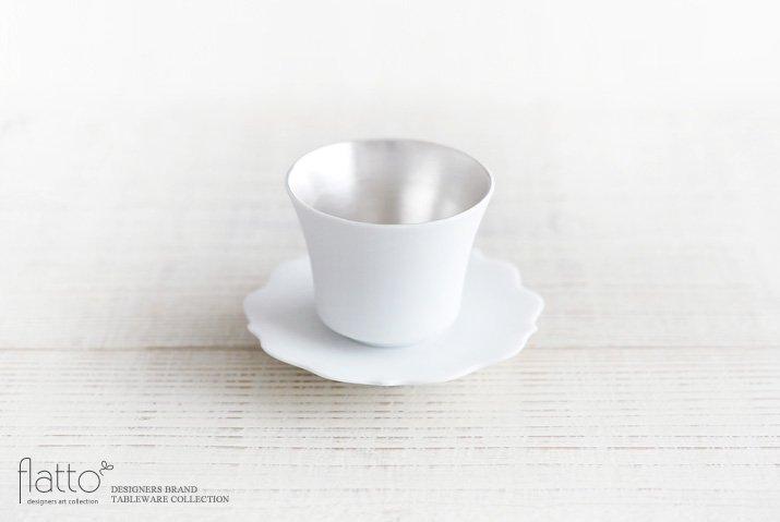 白磁銀彩カップ&ソーサー(フラット) 作家「木下和美」
