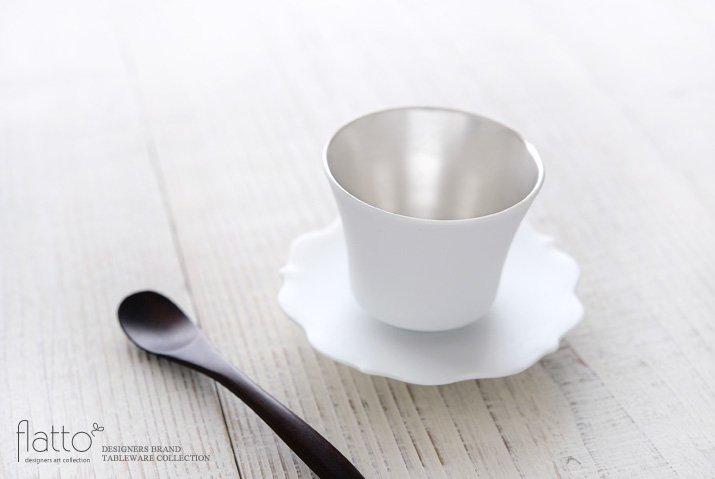 白磁銀彩カップ&ソーサー(フラット) 作家「木下和美」-02
