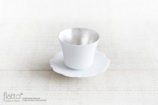 木下和美|白磁銀彩カップ&ソーサー(フラット)