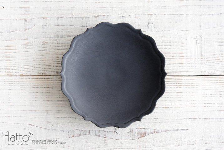 木下和美|黒釉輪花プレート(21cm)