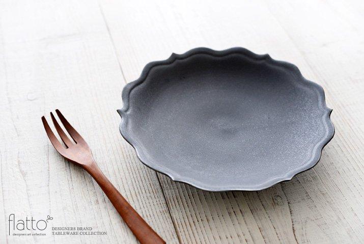 黒釉輪花ケーキ皿 作家「木下和美」-02