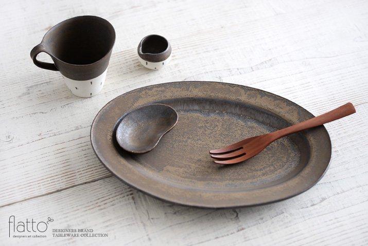 オーバルプレート(LL・砂金)|竹口要|大皿-04