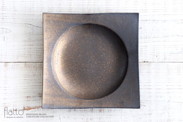 銅彩釉 角皿(特大) 作家「水野幸一」