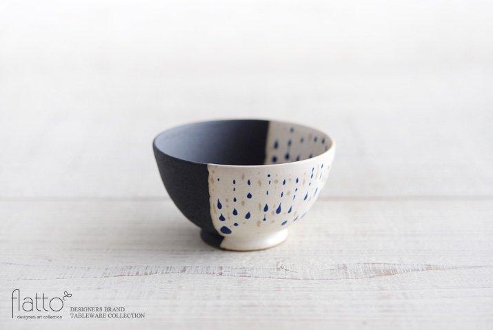 安田宏定|白釉四季彩 掛け分け小鉢(雫・紺)
