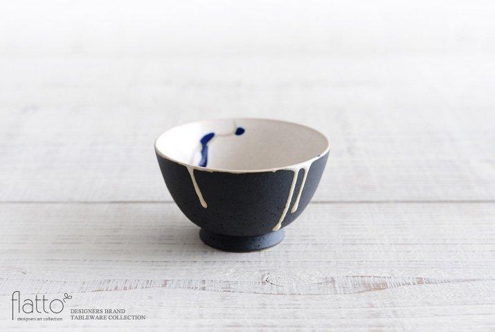 白釉四季彩 小鉢 (黒マット・流・紺) 作家「安田宏定」