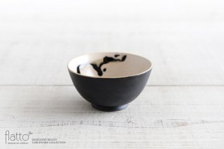 安田宏定|白釉四季彩 小鉢(黒マット・流・黒)