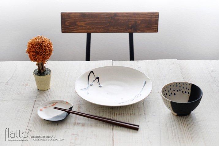 白釉四季彩 掛け分けはしおきプレート3寸 (流・橙) 作家「安田宏定」-03
