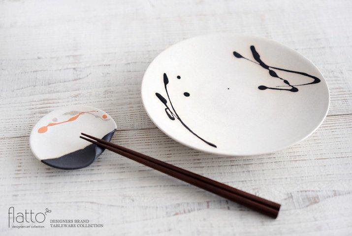 白釉四季彩 掛け分けはしおきプレート3寸 (流・橙) 作家「安田宏定」-04