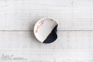白釉四季彩 掛け分けはしおきプレート3寸 (流・橙) 作家「安田宏定」