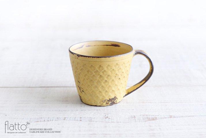 武曽健一|印花マグカップ(縦長・黄)