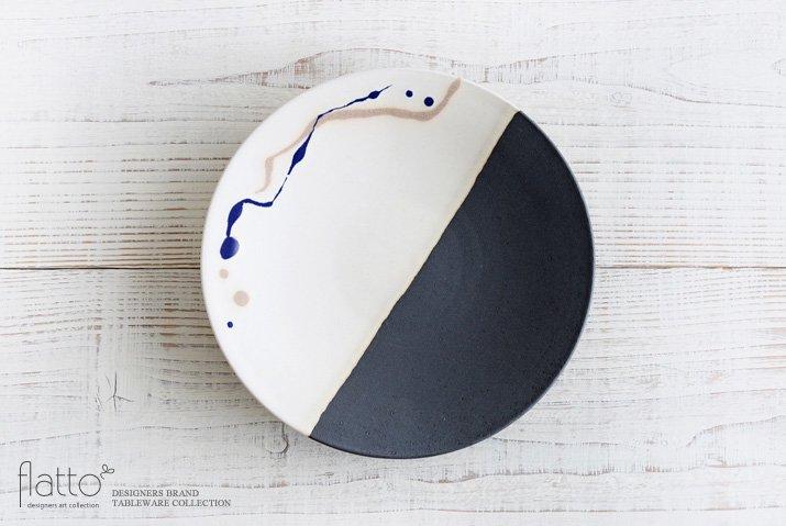 白釉四季彩 掛け分けプレート7寸(流・紺) 作家「安田宏定」