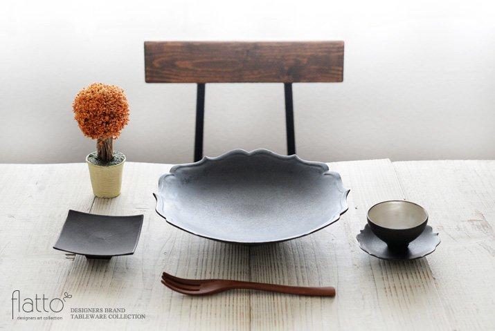 木下和美|黒釉銀彩 煎茶カップ&ソーサー-03