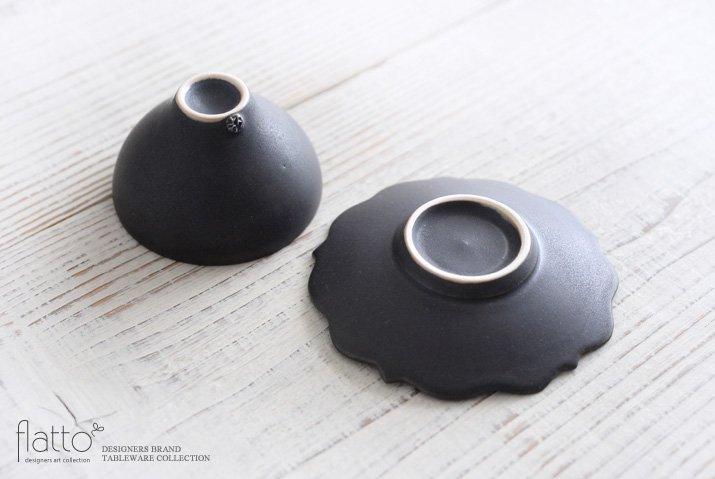 木下和美|黒釉銀彩 煎茶カップ&ソーサー-04