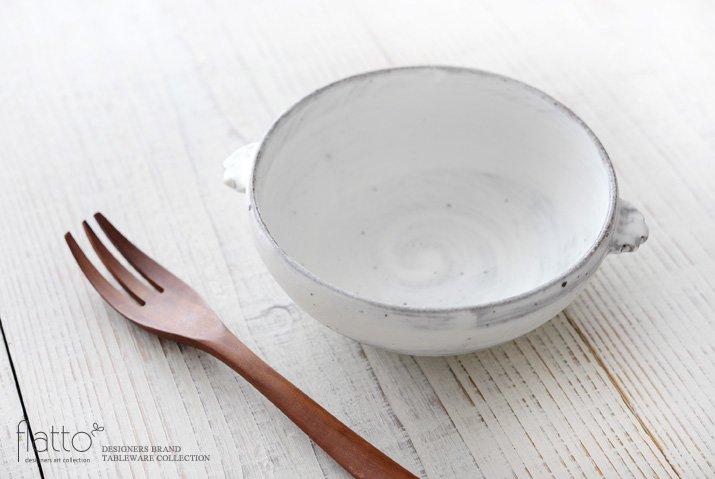 武曽健一|スープ鉢(耳付・白)-02